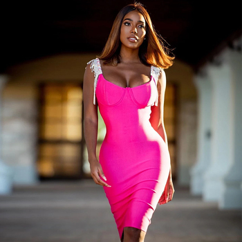 Ocstrade New Fashion Embellished Sexy Hot Pink Bandage Dress 2020 Women Bodycon Club Evening Party
