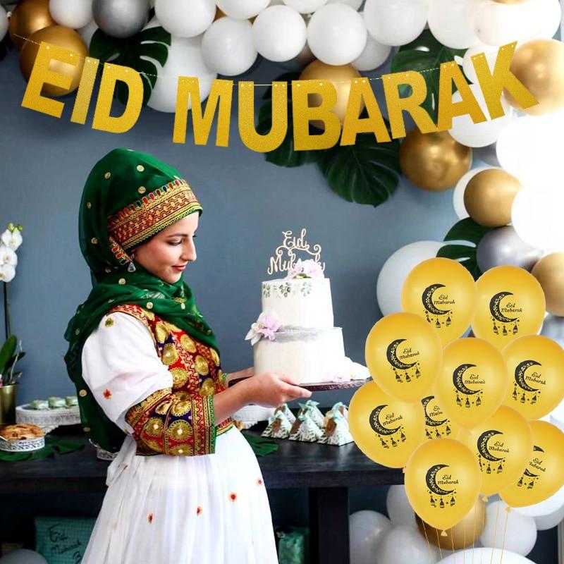 Image 5 - Eid Mubarak Decoration EID MUBARAK Balloons Banner Gift Stickers  Muslim Festival Cake Topper Ramadan Kareem Islamic SuppliesParty DIY  Decorations