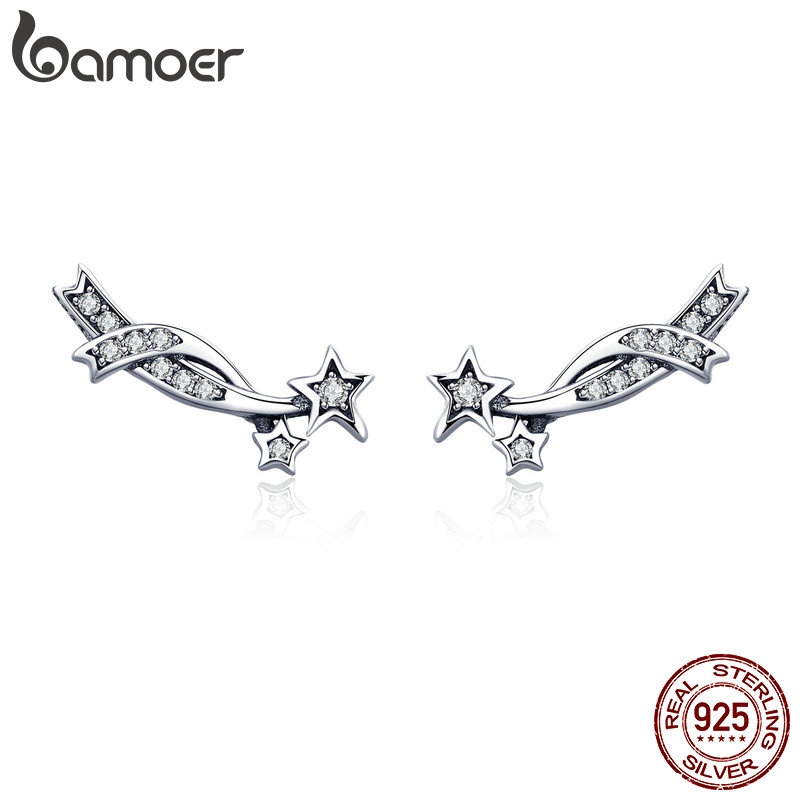 BAMOER Authentic 925 Sterling Silver Elegant Shining Meteor Star Clear CZ Stud Earrings For Women Silver Earrings Jewelry SCE442
