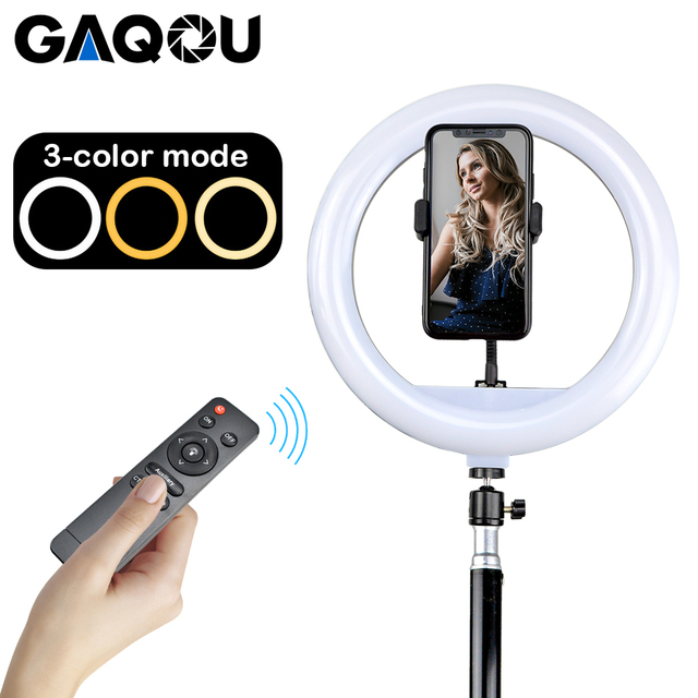 30cm Video Light Dimmable LED Selfie Ring Light USB Photography Lamp with Remote Control Phone Holder stand for Makeup Youtube