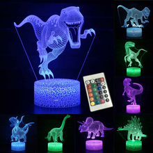 3D Night Lamp Jurassic Dinosaur 16 Colors LED Lights Table Lamp Night Lights New Year Decor Baby Kids Sleeping Creative Lamp cheap Ladarmoon Animal ROHS Dry Battery LED Bulbs Holiday 0-5W 4 5V USB cable or 3*AA battery children s lamp for home