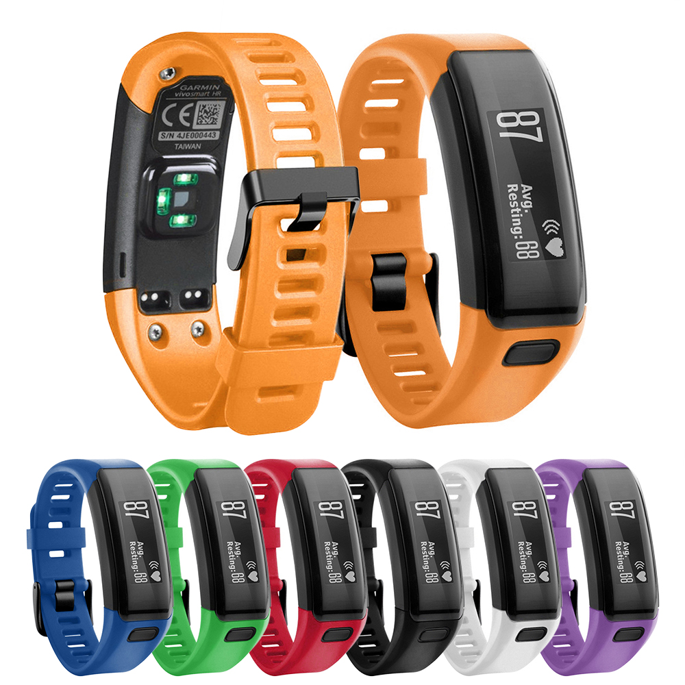 Compatible Bands Replacement For Garmin Vivosmart HR With Metal Buckle Fitness Wristband Strap Sweat&water Resistant Wristband