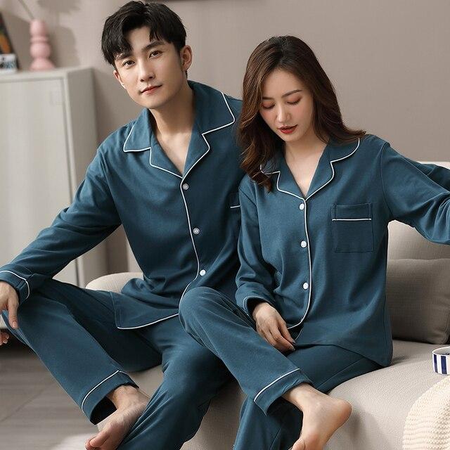 Hiver Couple Pyjamas 100% coton chambre vêtements de nuit pour femmes et hommes Pijamas Hombre Dormir maison vêtements PJ coton Pyjamas Femme