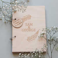 Wooden Wreath Guestbook Wedding Guest Book Wedding Album Personalized Guestbook Botanical Custom Name Date
