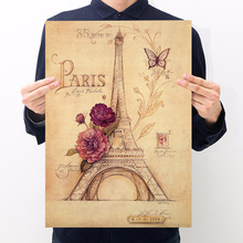 Room decoration Paris Tower hand-painted version retro kraft paper poster wall sticker bar cafe bedroom decoration painting