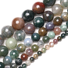 Wholesale Natural Stone Smooth Indian Agates Onyx Round Loose Beads 16 Strand 4 6 8 10 12 14MM Pick Size For Jewelry Making