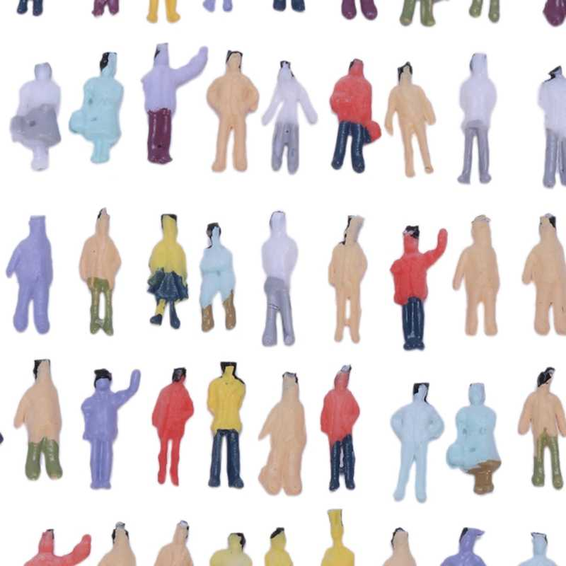 Nowy 100 sztuk malowany model pociągu ludzie figurki skala N (1 do 150)