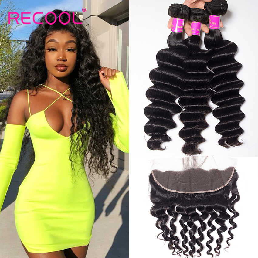 Recool Loose Deep Wave Bundles With Frontal Closure Hd Transparent Lace Frontal Remy Brazilian Human Hair 3 Bundles With Frontal