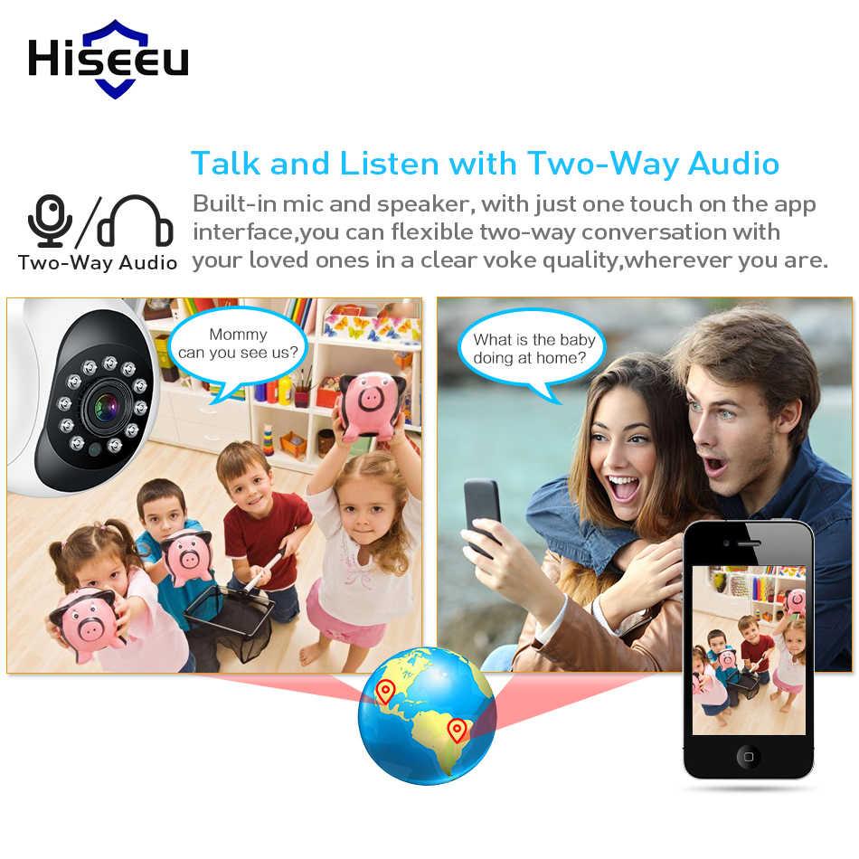 Hiseeu Домашняя безопасность 1080P 3MP Wifi ip-камера аудио запись SD карта памяти P2P HD CCTV Беспроводная камера видеонаблюдения радионяня