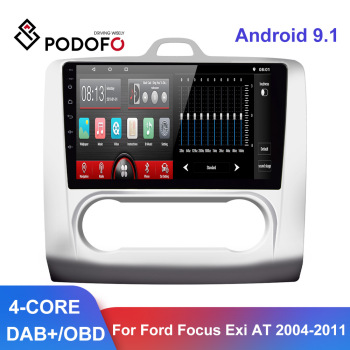 Podofo Android 9.1 Car Radio 9'' GPS WIFI Split Screen 2 Din Car Multimedia player Audio Player For Ford Focus 2 Mk2 2004-2011 image