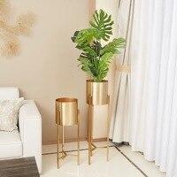 European Gold Large Vase Decoration Home Decorations Floor Simple Modern American Furniture Flower Pot Plant Pot