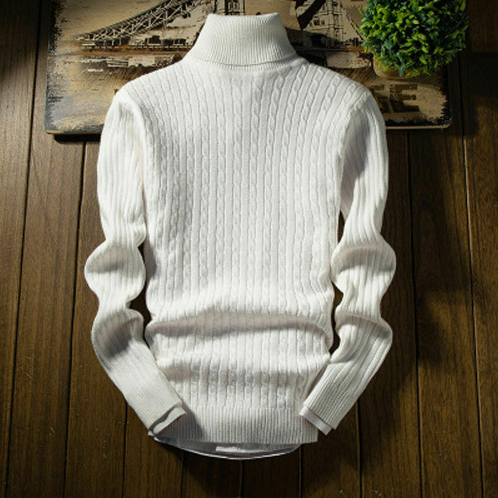 Sweatshirts Turtleneck Pullover Slim-Fit Long-Sleeve Knitted Men Casual Basic Cozy