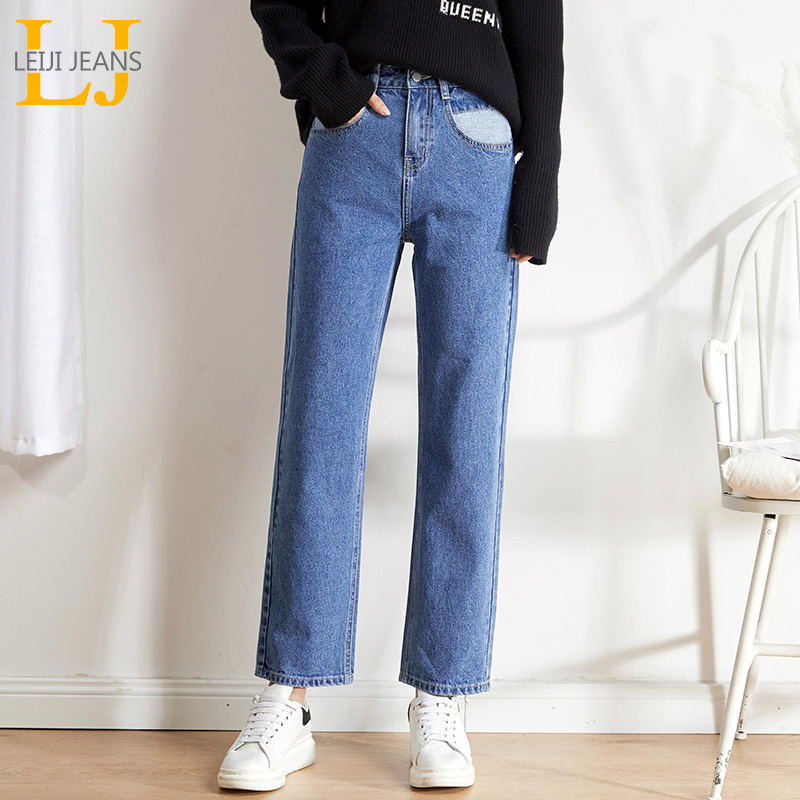 LEIJIJEANS New Arrival 2019 Autumn Boyfriend Matching Pocket Straight Jeans Warm Comfortable  Girls Straight Women Jeans 9117