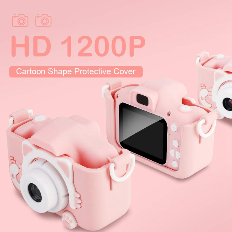 Children's Camera 12.0MP 1080P 2.0 Inch Screen Children's Video with 32GB TF Card Camera Anti-Fall Children's Self-Timer Toy Cam