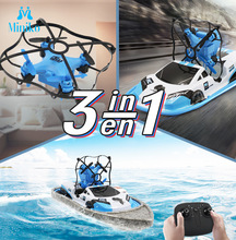 3 en 1 RC Drone terre mer aéronef sans pilote (UAV) Mini aérocraft télécommande déformation bateau véhicule infrarouge Induction voiture bateaux jouet pour les enfants
