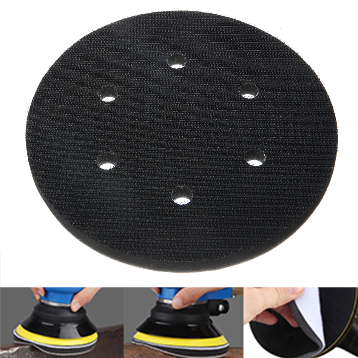 1pc 6 Inch Interface Cushion Pad 150mm 6 Hole Backing Pad Hook And Loop Foam Protecting Sanding Disc Power Sander Accessories