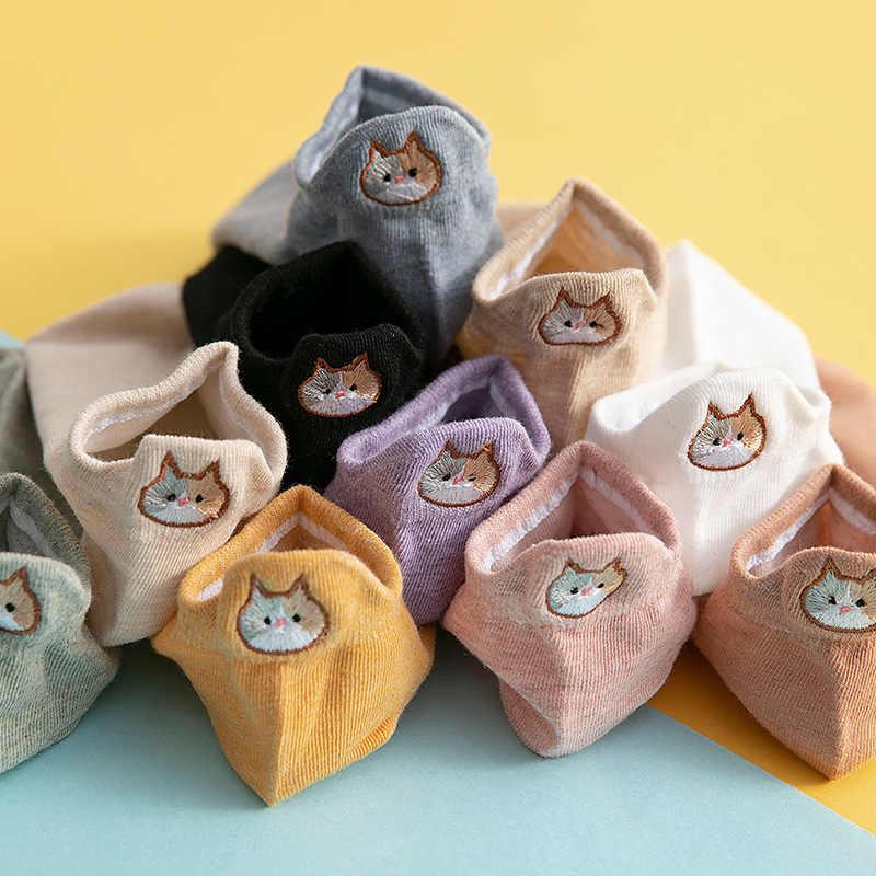 Mèo Thêu Tất Nữ Hoạt Hình Cotton Mỏng Thuyền Tất Nữ Vô Hình Calcetines Đáng Yêu Bé Gái Mùa Hè Thoáng Khí Sock