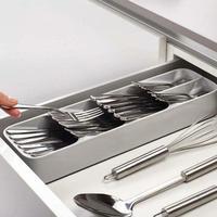 درج مطبخ منظم PP صينية ملعقة السكاكين فصل صندوق تخزين منزلي توفير مساحة مظهر جميل سهلة التنظيف صندوق