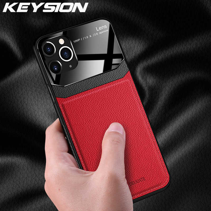 KEYSION Shockproof Case voor iPhone 11 Pro Max XS XR X PU Lederen Spiegel Gehard Glas Telefoon Back Cover Voor iPhone 8 7 6 6s Plus