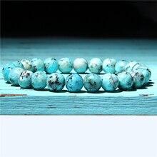 Green White Natural Turquoises Agat Lapis Lazuli Stone Bracelet Homme Femme Charms 8MM Men Strand Beads Yoga Bracelets Women