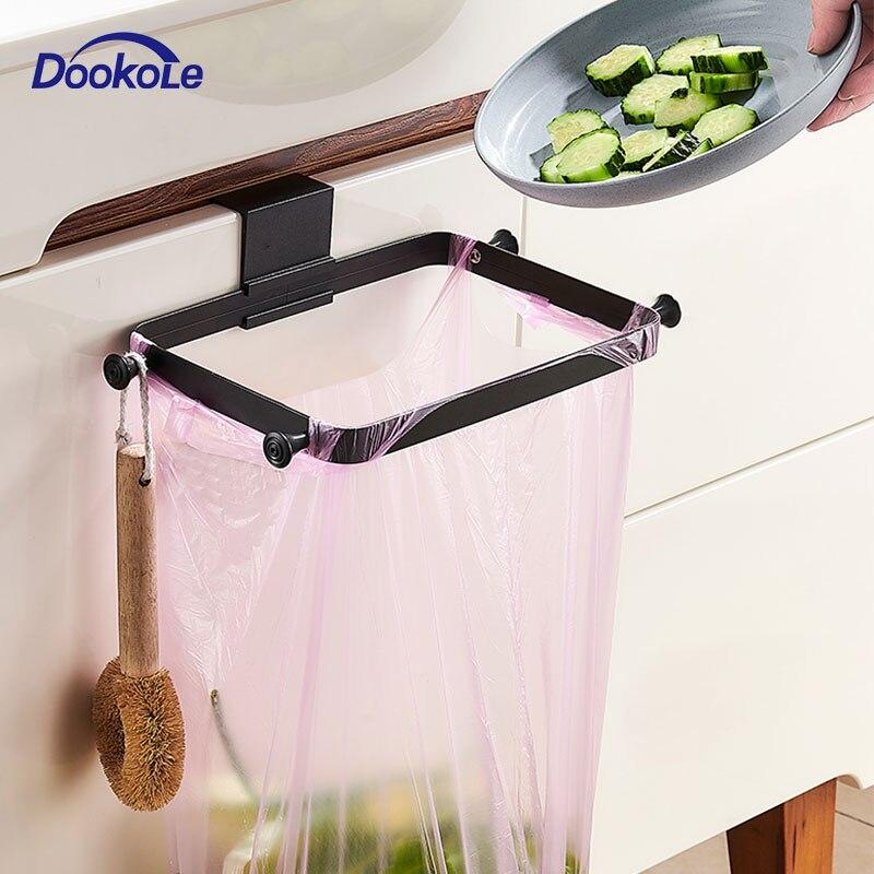 Metal Plastic Bag Holder Over The Cabinet Door, Pantry Door Garbage Trash Bags Rack For Grocery Kitchen Aluminum Matt Black