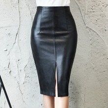 2019 Women PU Leather Skirt Autumn Winter Ladies Package Hip Sexy Front Slit Pencil Skirt Plus Size New Casual Mid Waist Skirts