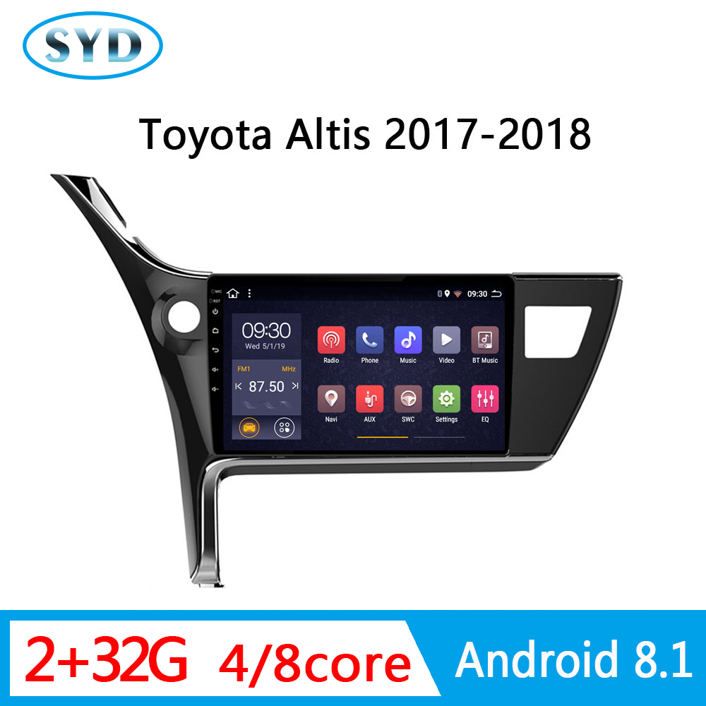 auto central multimedia for <font><b>Toyota</b></font> <font><b>Corolla</b></font> Altis 2017 <font><b>2018</b></font> DVD Navigator 2G RAM 1 din <font><b>Android</b></font> radio audio video FM AM SWC image