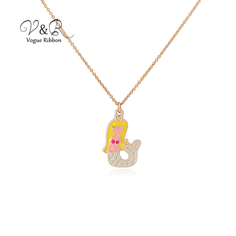 Imitation gold plated pendant necklace, cute epoxy mermaid pendant, fashion jewelry for girl  (1)