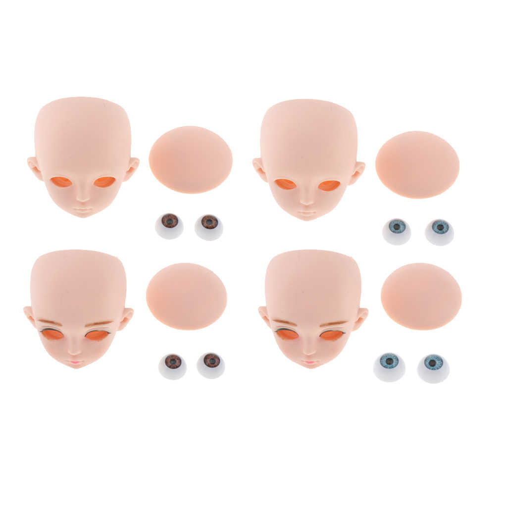 1/3 Bjd Hoofd Gezicht Schimmel Met 3D Ogen, Pop Vervanging Lichaamsdelen, Make Up Ogen Wimper Extensions, voor Haar Styling Kosmetiek