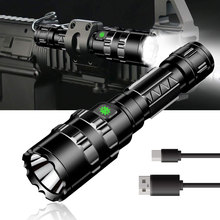 LED Tactical Flashlight Ultra Bright USB Rechargeable Waterproof IPX4 Scout Light Torch 5 Modes Camping Flashlight 18650 Battery