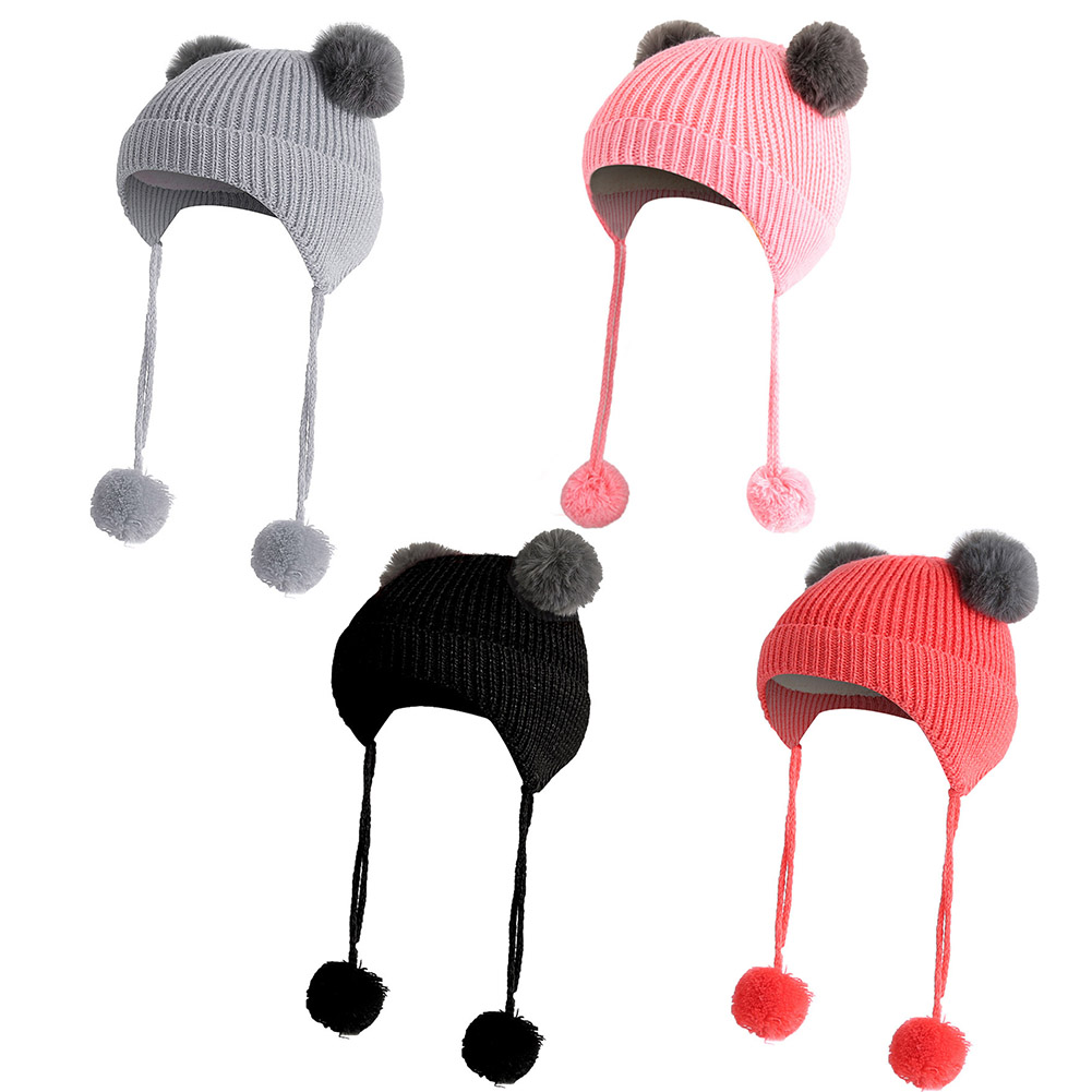 Hat Sombrero Earmuffs Baby-Hats Winter Boys New Knit Warm for Girls with Pom-Poms Outdoor-Cap