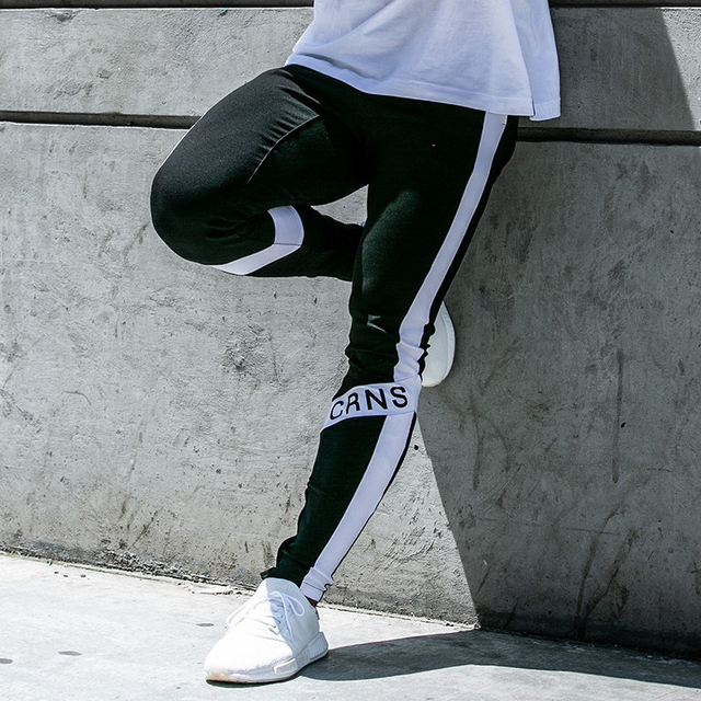 New Men Joggers Casual Pants Fitness Men Sportswear Trousers Bottoms Skinny Sweatpants Trousers Black Gyms Jogger Sweat Pants