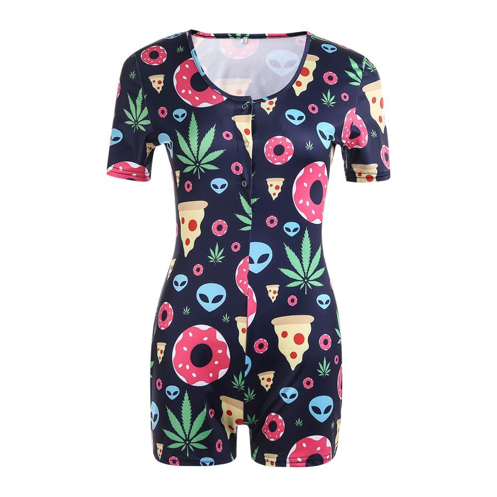 Women Sexy V Neck Bodycon Bodysuit Casual Printed Button Sleepwear Jumpsuit Shorts Romper Leotard Sexy Ladies Summer Pajamas Hot