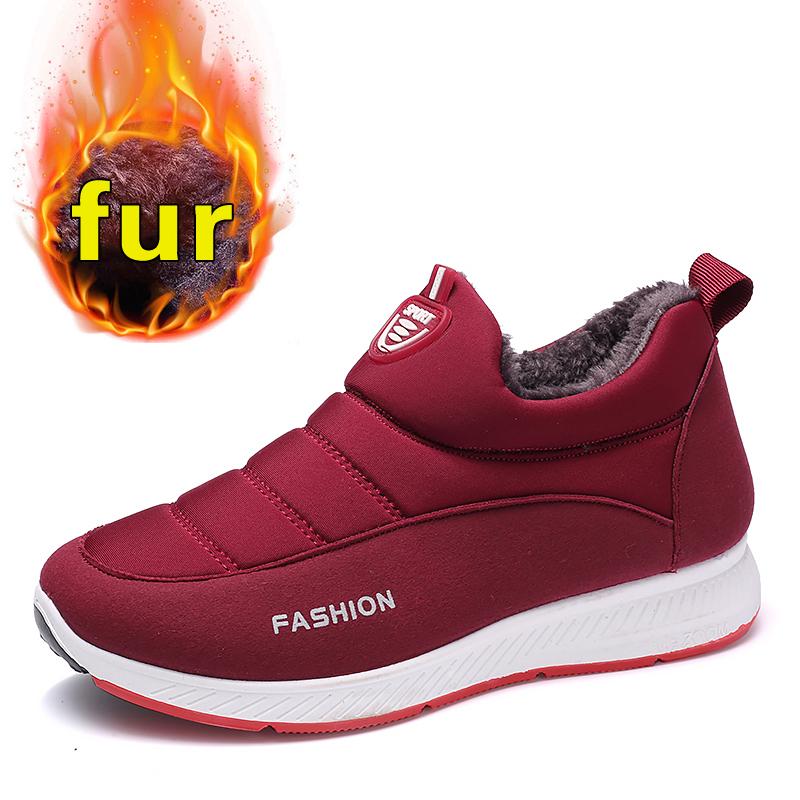 Snow Boots Women Shoes Warm Plush Fur Ankle Boots Winter Female Slip On Flat Casual Shoes Waterproof Women Sneakers