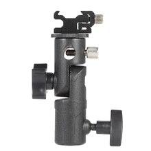 "E Type Universal Metal Flash Hot Shoe Speedlite Umbrella Holder Light Stand Bracket w/ 1/4""3/8""Screw Mount Swivel Adapter"