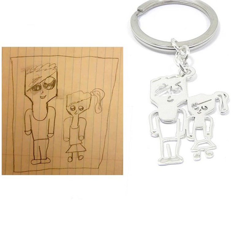 Custom Children's Drawing Keychain Kid's Art Child Artwork Personalized Name Keyring Custom Jewelry BFF Christmas Gifts for Kids