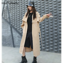 Women Windbreaker Mid-length British Style Plus Size Loose Spring Autumn Office Lady Coat Height Increasing Fashion Tide 2020(China)