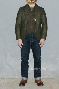 Image 4 - BOB DONG Tweed Jacket Blazer Vintage Country Striped Wool Sport Coat For Men