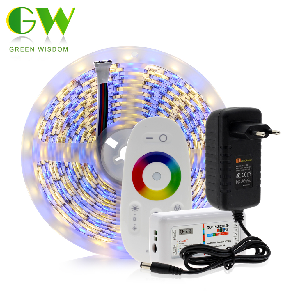 5M 5050 LED Strip DC12V RGB / RGBW / RGBWW Flexible Light Tape 300 LEDs RGB Color LED Strip Set + Remote Control + Power Adapter