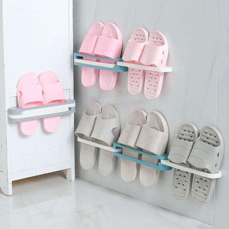 Wall Mounted Shoe Holder Organizer Folding Shoe Storage Rack Hanging Shelf One Change Into Three Bathroom Organizer