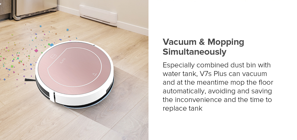 H7f4dbc96a81c4991bda88ad3637d2edfL ILIFE V7s Plus Robot Vacuum Cleaner Sweep and Wet Mopping Disinfection For Hard Floors&Carpet Run 120mins Automatically Charge