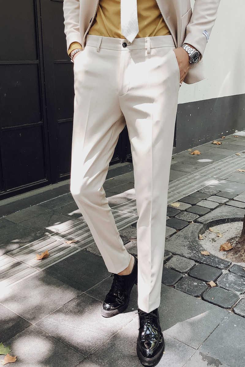 Elegancka typu slim Fit formalne spodnie męskie spodnie garnitur Pantalon moda sukienka biurowa spodnie męskie formalne spodnie białe Pantaloni Tuta męskie