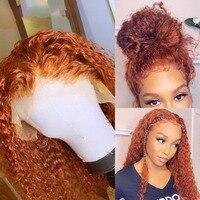 Ingwer Perücke Orange T Teil spitze front Menschliches Haar Perücken 180% Remy Lockige Tiefe Wasser Welle Perücke Glueless PrePlucked Mit baby Haar