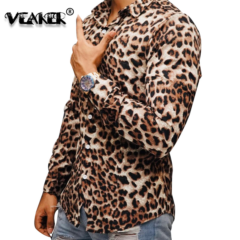 Sexy Leopard Print Shirt For Men Nightclub Shirt Brand 2020 High Quality Long Sleeve Shirts Male Casual Slim Fit Dress Shirts
