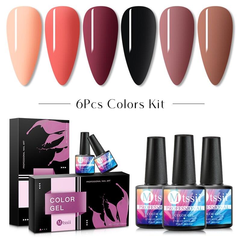 6pcs/set Color Nail Gel Polish Set For Manicure Vernis Semi Permanent Base Top Coat Soak Off UV LED Nails Gel Varnish Nail Art