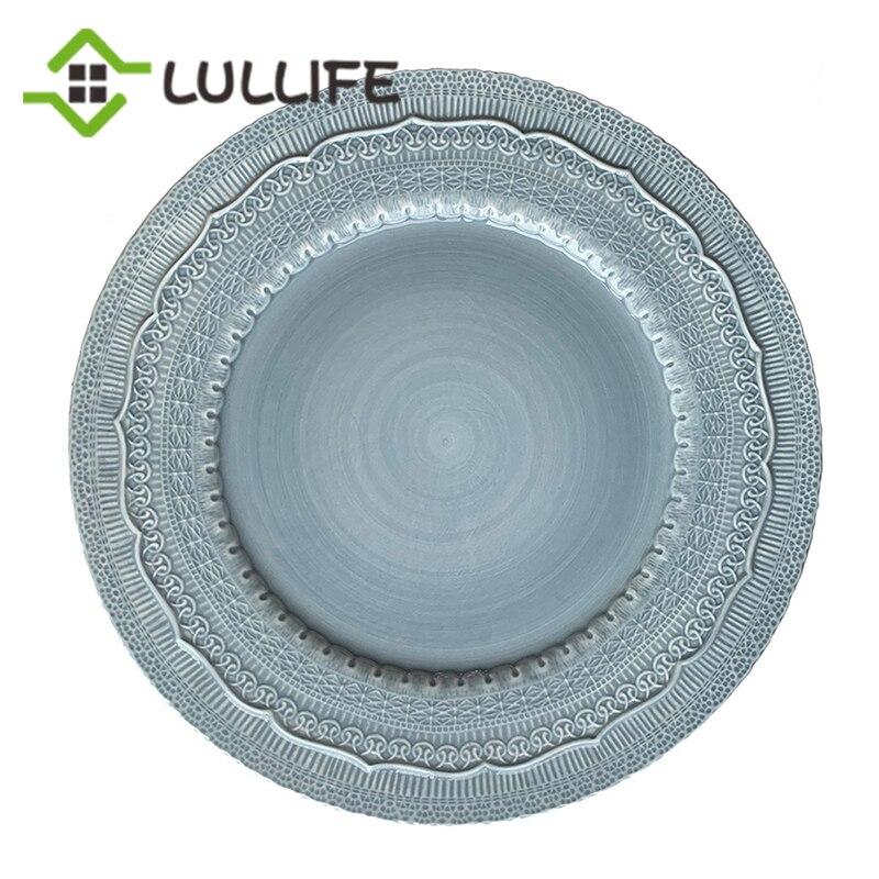 13 pouces en céramique assiette de luxe mariage chargeur plaque assiettes et plats gaufrage plus grande vaisselle ensemble maison cuisine