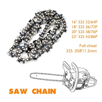 Professional Saw Chain Full Chisel Pitch .325 Gauge .058/1.5mm Length 16 18 20 22 Available 2pcs 18 inch chainsaw saw chain blade pitch 325 0 058 gauge 72dl replacement chains hardware tools