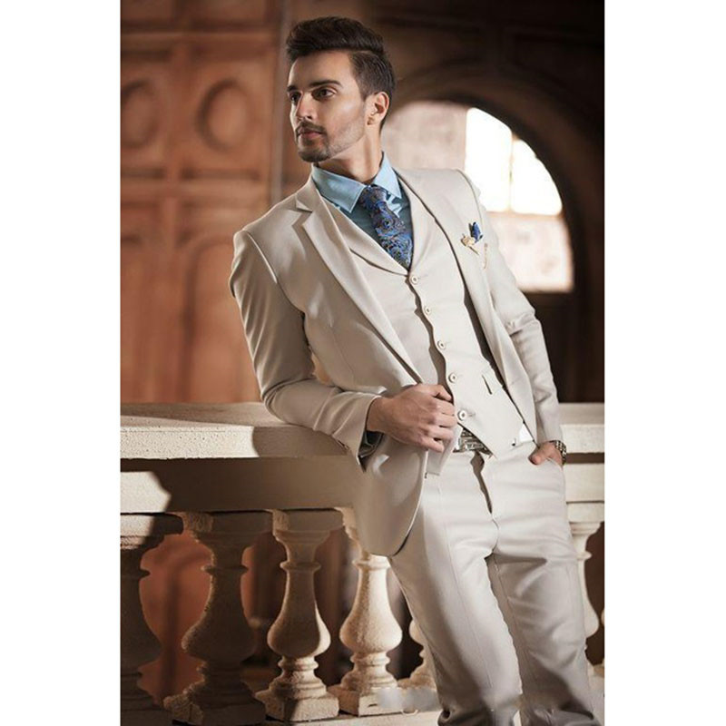 Chic Spring Fall Mens Slim-fitted Mens Wedding Tuxedos Custom Made Men Suits Party Banquet Suit (Jacket+Pants+Vest)