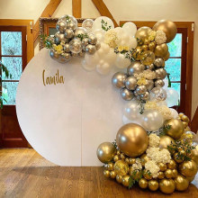 112 pçs balões garland arco kit cromo prata ouro confetes ballon decoração da festa de aniversário do casamento crianças bebê chuveiro globos