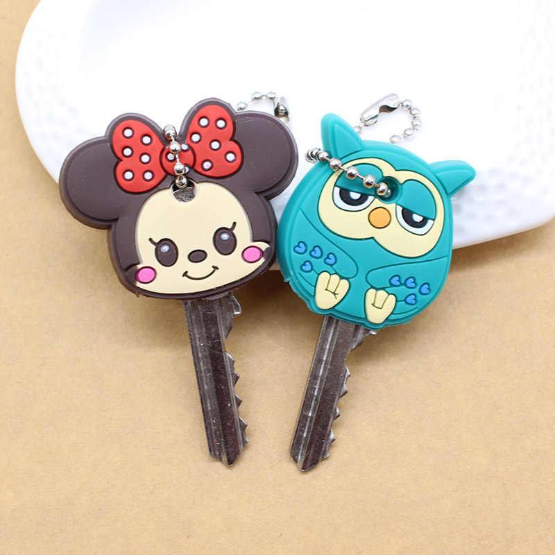 2 pçs adorável dos desenhos animados chaveiro anime bonito mickey stitch urso silicone chave capa coruja porte clef boné minne chaveiro proteger mulher